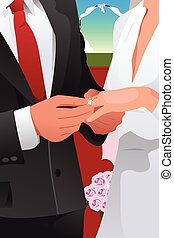 Man putting wedding ring - A vector illustration of man...