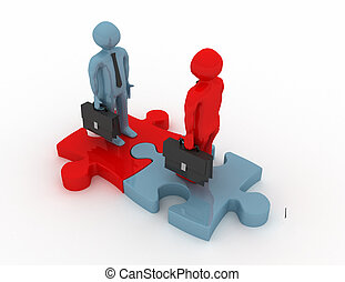 man puzzle join, concept . 3d rendered illustration