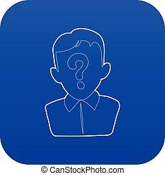 Man question icon blue vector