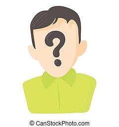 Man question icon, cartoon style
