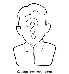 Man question icon, outline style