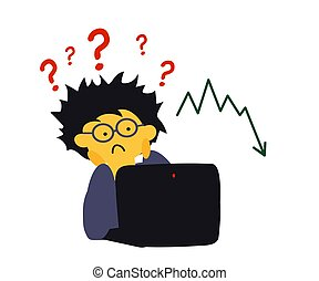 Man, question mark and computer. Cartoon. Vector