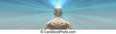 Man radiates light from text on his skin