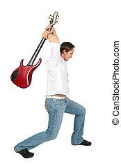 Man raises guitar, angry, want crash.