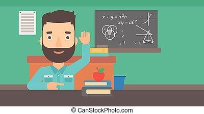 Man raising his hand. - A hipster man with the beard raising...
