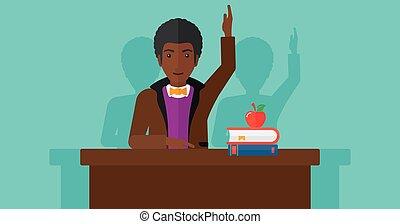 Man raising his hand.