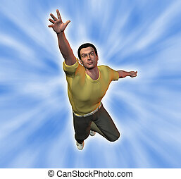 Computer Illustration - Man Reaching for Heights (With Clipping Path)