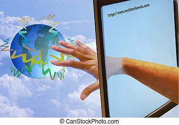 Man Reaching the World Via His Computer