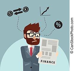 Man read financial report
