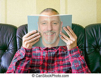 Man Reading a Book About Himself