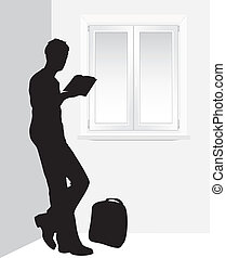 Man reading a book near the window. Vector illustration