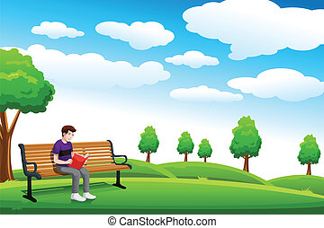 Man reading a book on the bench - A vector illustration of a...