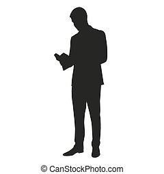 Man reading a book. Vector silhouette