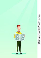 Man reading a newspaper vector illustration. - Young...