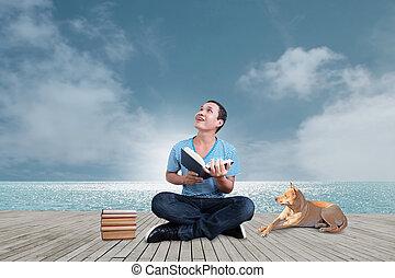 Man Reading Book  Concept