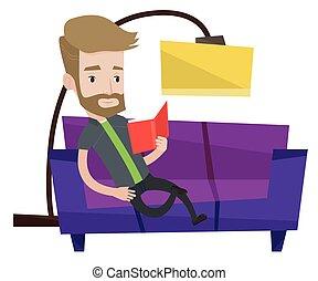Man reading book on sofa vector illustration.