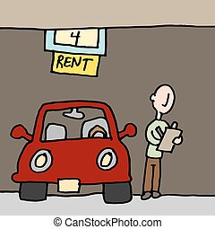 Man reading car rental contract