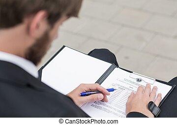 Man reading documents