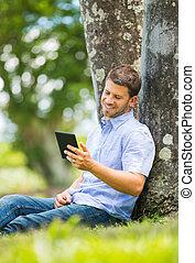 Man reading E-Book