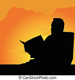 man reading illustration