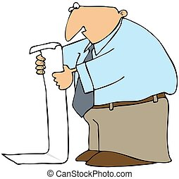 Man Reading Long List - This illustration depicts a man...