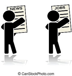 Man reading news and looking for job