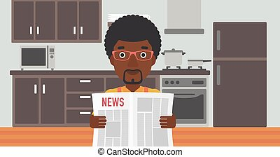 Man reading newspaper. - An african-american man reading the...