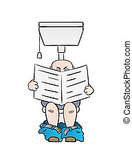 man reading newspaper on toilet