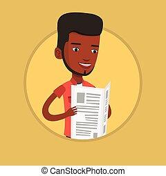 Man reading newspaper vector illustration. -...