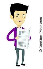 Man reading newspaper vector illustration. - Cheerful asian...