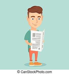 Man reading newspaper vector illustration. - Cheerful...