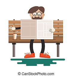 Man Reading Newspapers on Bench with Coffee in Park. Vector Flat Design Illustration Isolated on White Background.