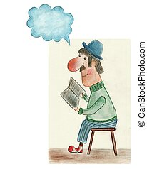 Man reading paper and thinking - artistic work. watercolors ...