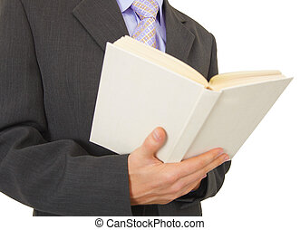 Man reads book on white background