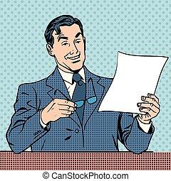 man reads document report businessman scientist - A man...