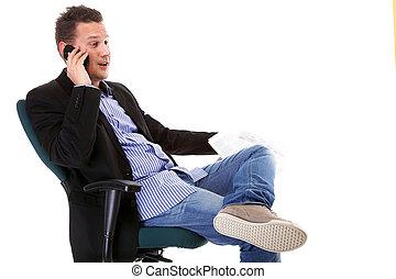 man reads newspaper phoning - economy news