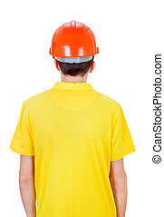 Man Rear View in Hard Hat
