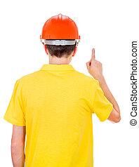 Man Rear View in Hard Hat