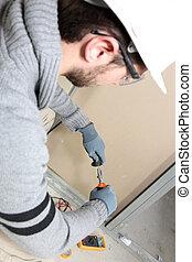 Man rearing house electrics