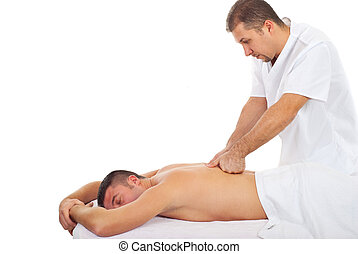 Man receive deep back massage - Real professional masseur...