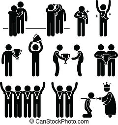 This is a set of people pictograms that represent man receiving award, medal, and honor.