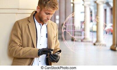 Man receiving digital data on smartphone - Young man...