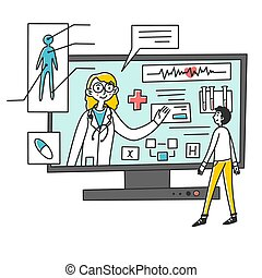Man receiving medical consultation online illustration. Female doctor consulting and recommending treatment to patient through laptop application. Healthcare, online medical assistance