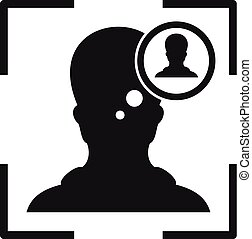 Man recognition face icon, simple style