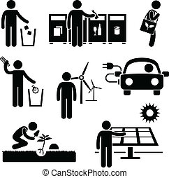A set of pictogram representing people responsibility for green environment.