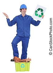 Man recycling building materials