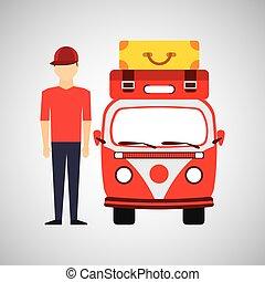 man red cap vintage van camper suitcases vector illustration...
