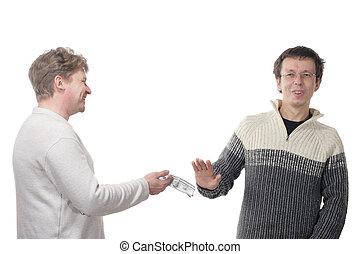 Man refusing money