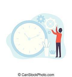 Man Regulating Clockwork, Businessman Planning, Controlling Working Time, Business Concept of Time Management Vector Illustration