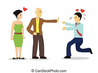 Man reject by woman father. Concept of family issues, rejection or breakup.